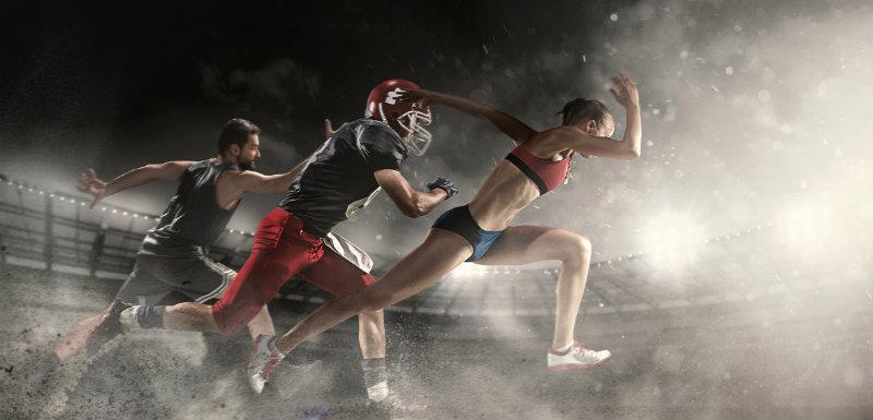 Multisports backet-ball, footballeurs américains et femme athlétique pour le diabète de type 1
